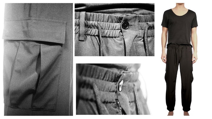 Men's Combat Pant $99 In a super lightweight technical fabric shown with Men's Minimal T-shirt with dropped neck $50