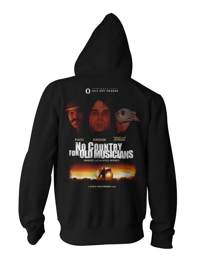 "the super special backer hoodie! it will still say ""I kickstarted reggie's ass"" across the bottom, the front breasts have the turkey lee jones picture on them. ill post the front when i get it done."