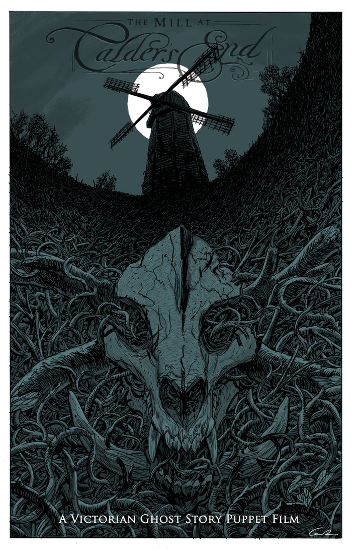 "CARD #2 - ""The Mill at Calder's End"" illustrated by concept artist Guy Davis.(5"" X 7"" Card)"