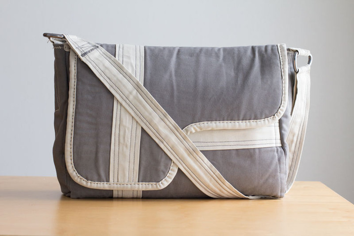 Canvas messenger bag, designed and built by Dustin Driver, 2007.
