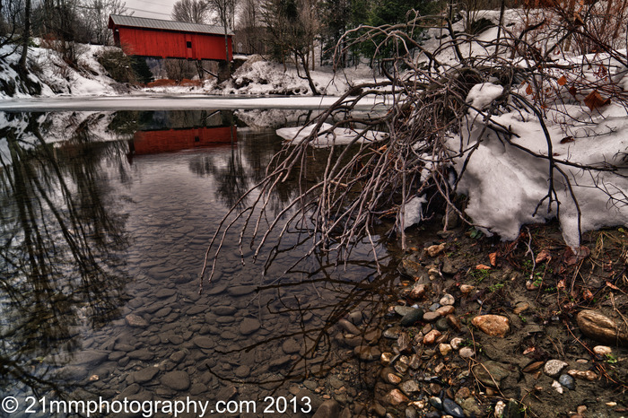 Winter at Slaughterhouse Bridge - Northfield, VT