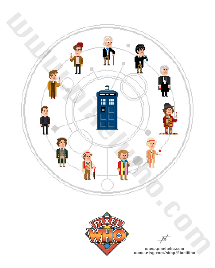 11 Doctors and TARDIS set against Gallifreyan symbol