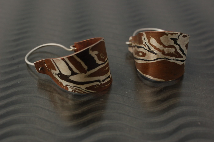 Copper,Silver & Shakudo earrings