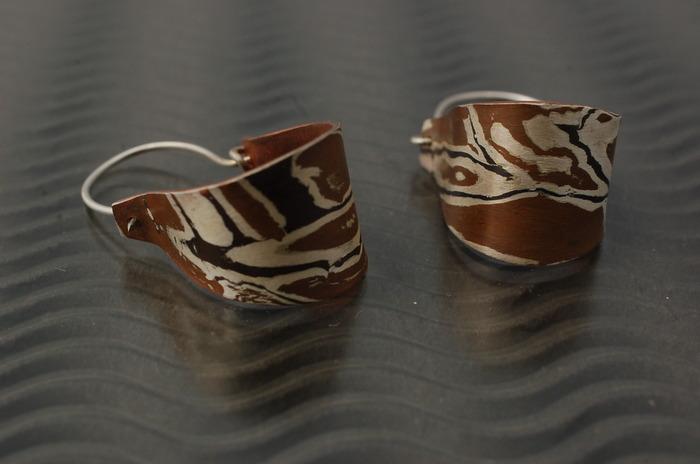 Copper,Silver & Shakudo earrings