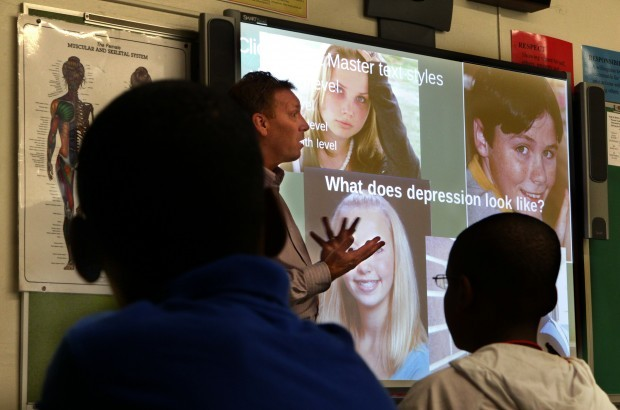 Mark talks to students about identifying signs of mental illness and suicide