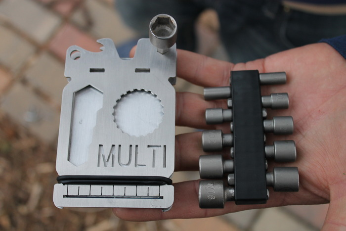 "Where ours says ""MULTI"", enjoy your own custom, cut-out engraving. Add your initials, favorite word or lucky numbers! The MULTI becomes an endless number of tools due to its modular driver bit design."