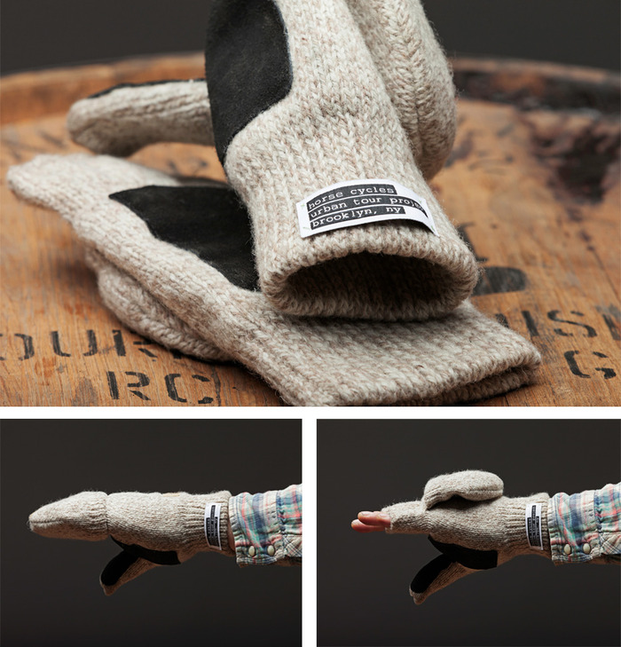 RAG WOOL FINGERLESS MITTENS