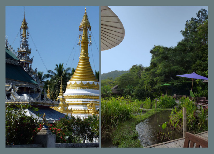 Left:  the temple complex.        Right: the Rice Terrace Bar at Fern Resort