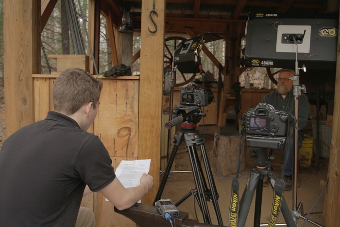 Zach Lowry interviews blacksmith Michael Fox in Hanover, PA.