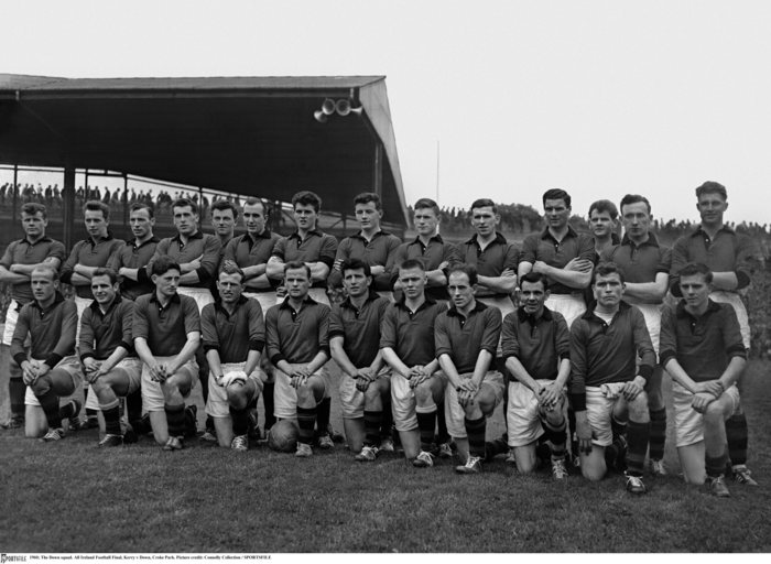 Down Senior Football Team, 1960. Kevin O'Neill is 5th from right in the back row. To Kevin's right is his younger brother Sean, who would become a superstar in the sport of Gaelic Football.