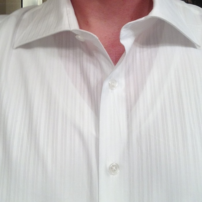 Standard white v-neck shows through.