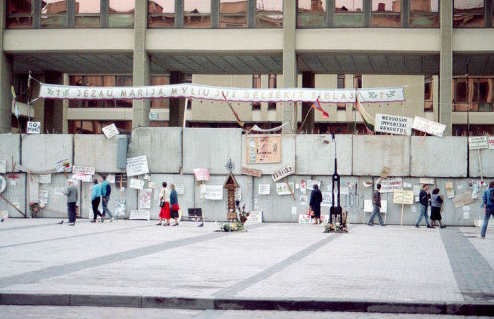 The barricades in front of the Lithuanian Parliament. 1991