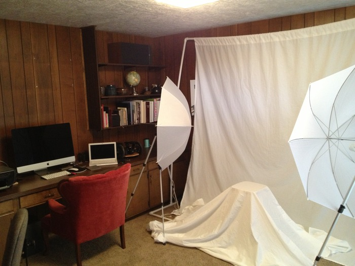 With a prototype on hand, I needed some pictures and video for Kickstarter. I bought some PVC, white bed sheets, umbrellas, and some tripods to put together a shooting studio in my office.