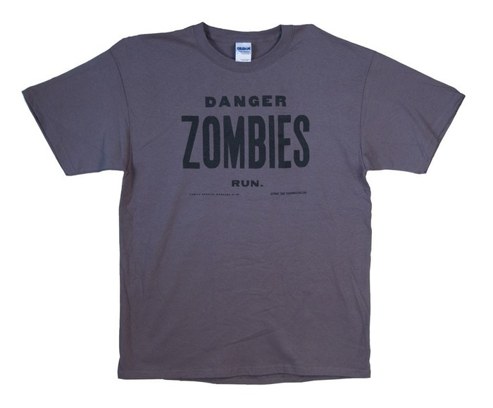 "Grey - ""Danger, Zombies, Run T-Shirt"" $25"