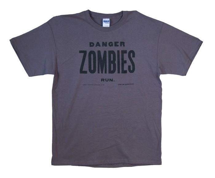 "Grey - ""Danger, Zombies, Run T-Shirt"" $25"