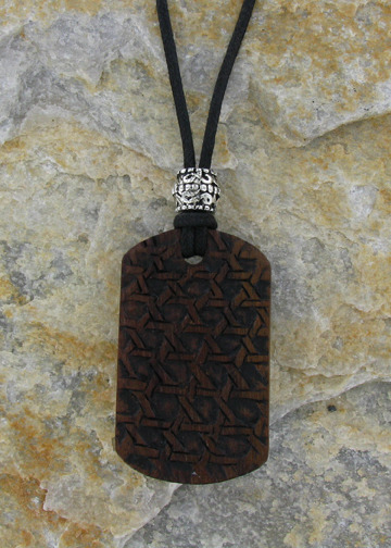 $25 or More-REWARD 10-Basket Weave Dog Tag (Sabo Wood: Sabo is a slightly different type of hardwood that expresses its unique character in its color and shading.-Limit 100)