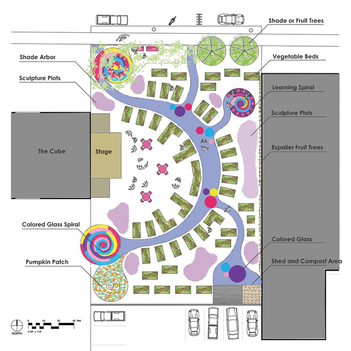 Our landscape architect's rendering of the Railyard Community Art Garden