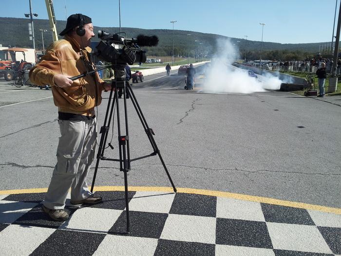 Filming at the Mason Dixon Dragway