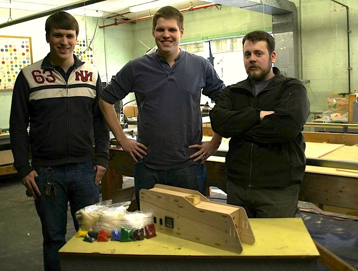 Sean, Robert, and John of OSPrinting LLC with the Filastruder, ABS, PLA, HDPE, and colorant.