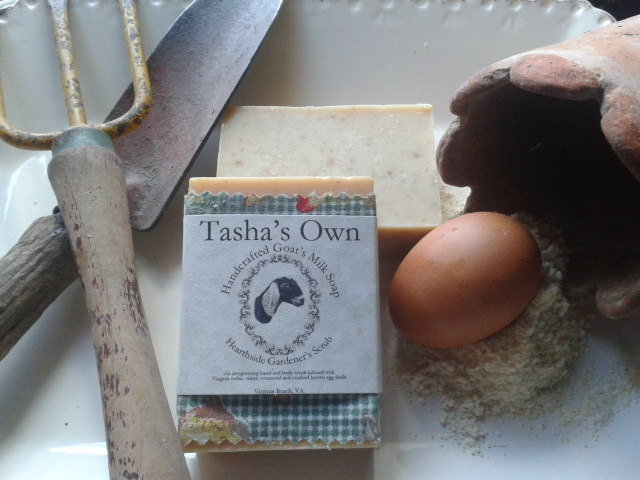 Tasha's Own offers unique varieties such as Hearthside Garden Scrub which contains our own farm raised brown eggshell powder, cornmeal and lemongrass essential oil.