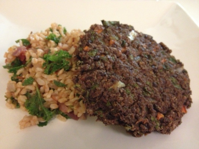 Black Bean Burgers and Spanish Brown Rice