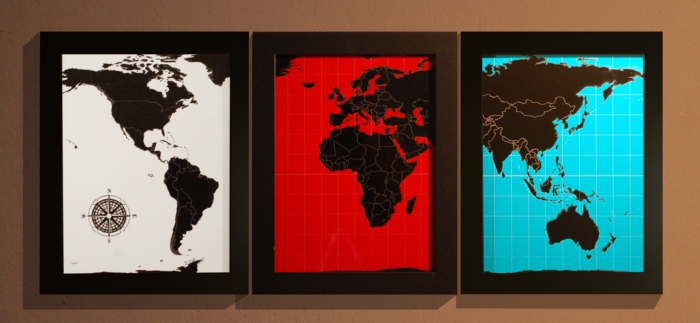 One 18 x 24 inch Dream Series map of your choosing in either black and white, black and red, or black and turquoise.
