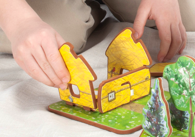 Children can safely assemble houses without tools or screws