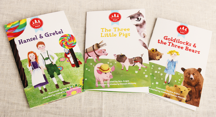 Storybooks are bright and colorful, with age appropriate re-tellings of classic fairytales