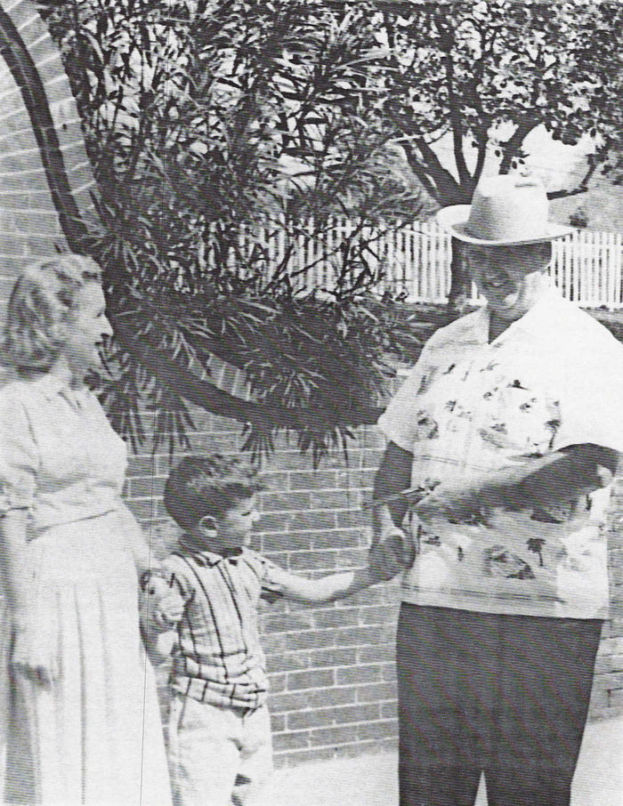 The producer with his mother and Colonel Tom Parker, 1958