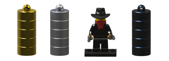 The same three colours are available, mini man not included and is shown for scale only
