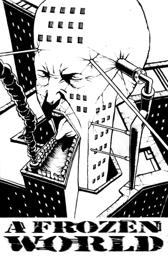 """11"""" by 17"""" black and white poster """"The Buildings are Screaming"""""""