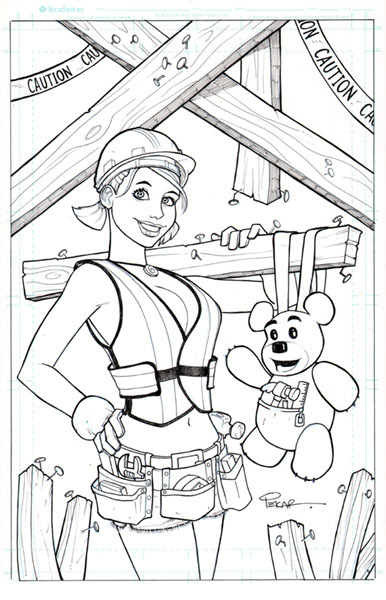 "Inked art for Making of Brandi Bare Cover (11""x17"" on bristol) will be colored digitally"