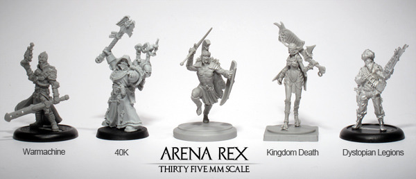 Arena Rex is not affiliated with the other games or miniature lines listed above. Their models only appear here as a demonstration of scale. Aquila is on a 30mm base.