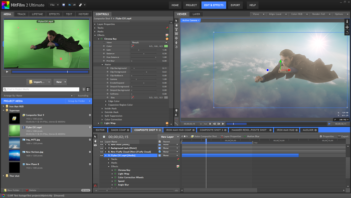 Compositing a green screen shot.