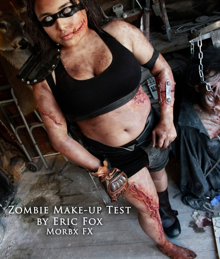 Testing post-apocalyptic zombie makeup for Undying. These fully intelligent zombies repair themselves with wire, staples, metal brackets, whatever it takes to keep their bodies together.