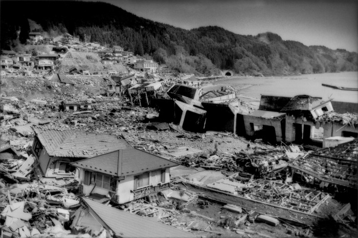 This formidable tsunami wall was not enough to halt the black wave that hit this village after the biggest earthquake in Japan's recorded history, Toni, Iwate Prefecture, Japan. The tsunami was 25m (82 ft.) high, though residents here claim that it was 30