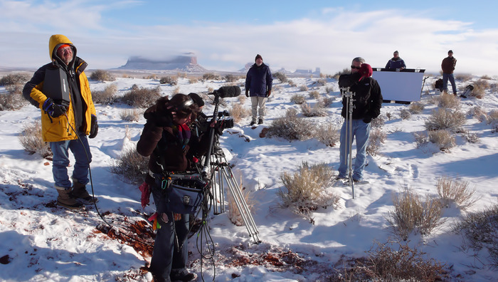 Boss Jon Davison and team, on the set of Searchers 2.0