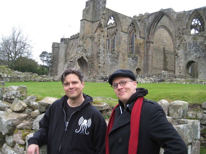 Fifer and Lackey at Bolton Abbey in Yorkshire