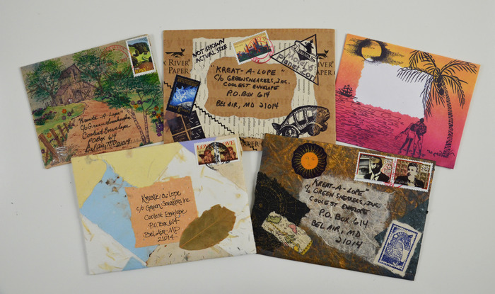 Envelopes made with rubber stamps