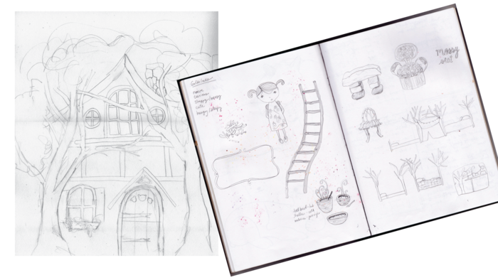 Our design process started with a few pencil sketches of the Goldilocks house, characters and furniture