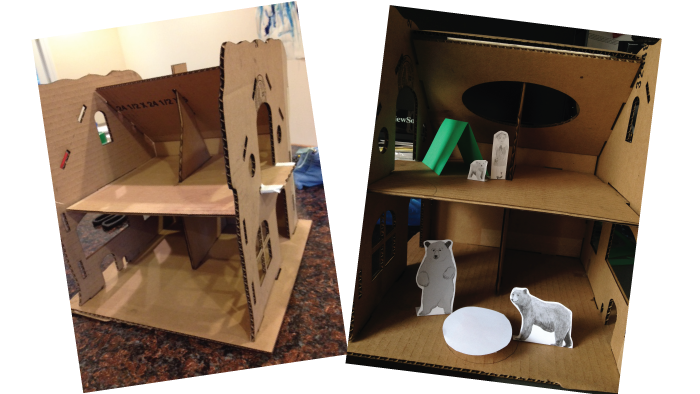We made our first prototypes from cardboard to quickly make sure that all the pieces fit