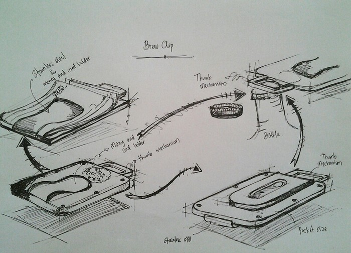 The original sketch for how the Brew Clip came to be