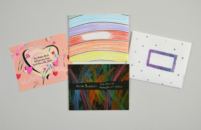 Envelopes made using kids' art