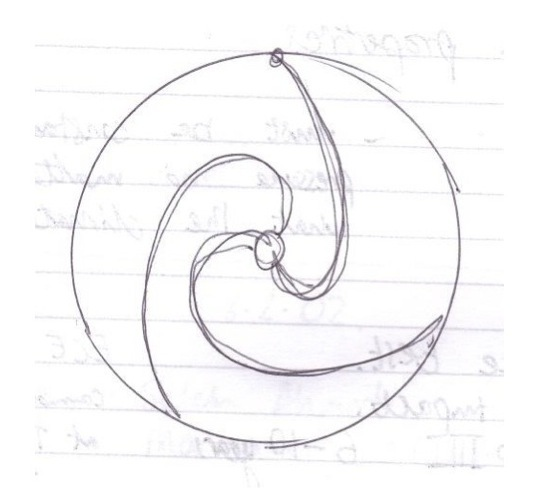 Sam's first notebook sketch of a wheel with suspension, 2007