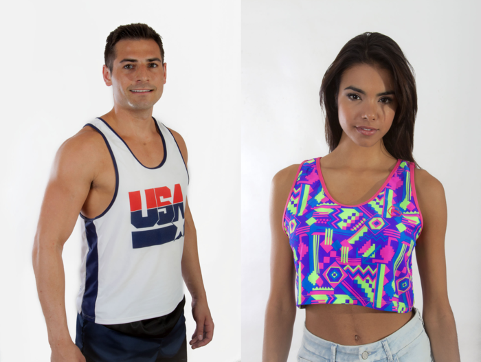 """USA"" w/ Navy Trim (Left) ""Aztec"" w/ Neon Pink Trim (Right)"