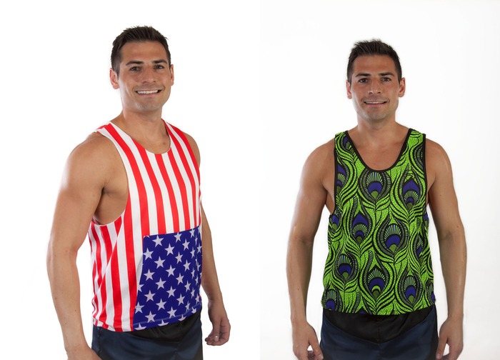 "Reversible ""American Flag"" (Left) ""Peacock"" w/ Black Trim (Right)"
