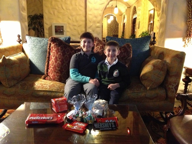 Picture of me and my brother with our stash of chocolate we won at Hotel Hershey!  Milk anyone?