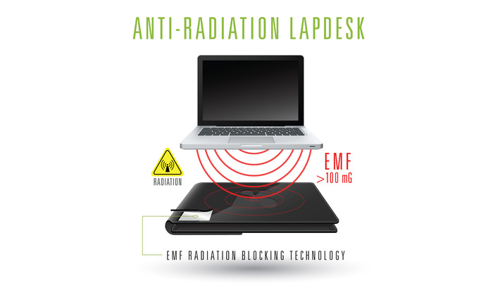Place SafeSleeve underneath your your computer. The Military Grade Shielding material inside will block EMF radiation and heat emissions from the bottom of your laptop