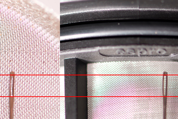 Standard press filter vs. the Espro Press Micro-Filter.