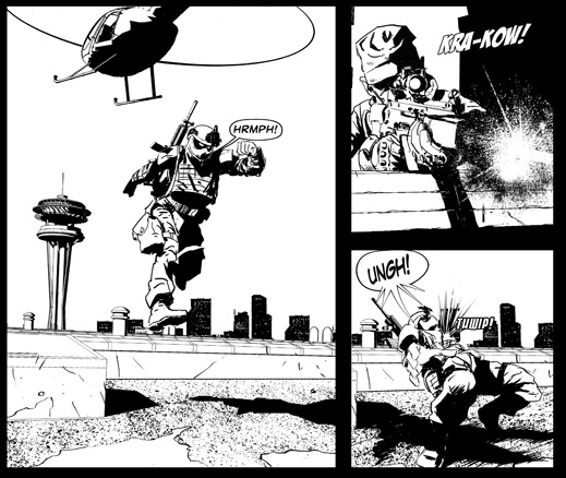 Panels from Vindicated, Inc., chapter one.